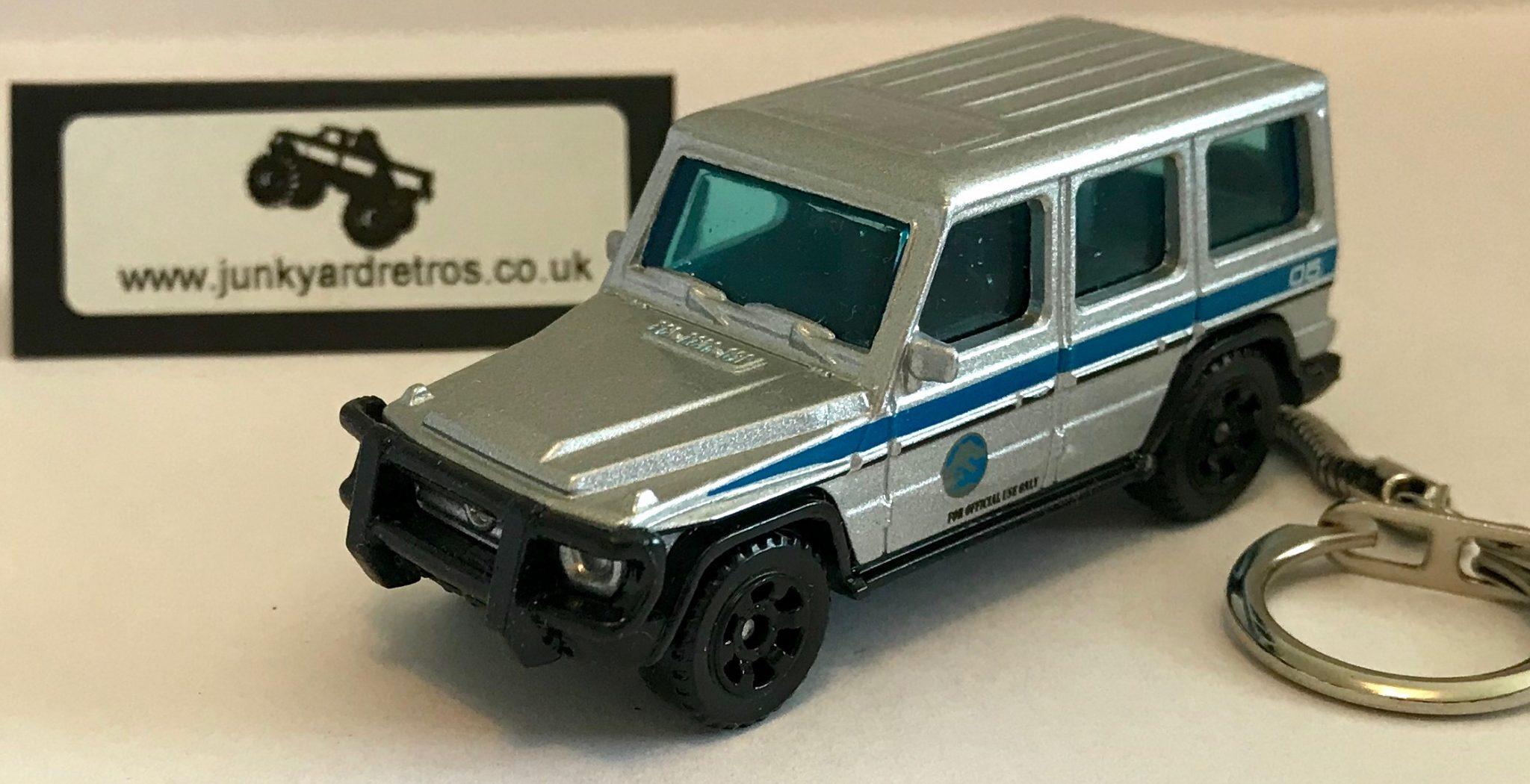 Mercedes Benz G Wagon 2014 Jurassic Park Keyring Keychain 1 56 Scale Silver Junk Yard Retros